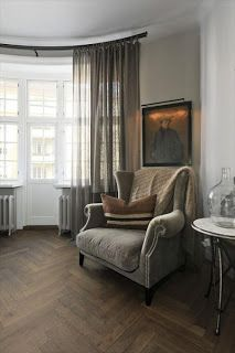 I love this floor. Wingback Chair, Accent Chairs, Flooring, Curtains, Living Room, Inspiration, Furniture, Apartments, Home Decor