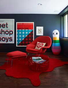 3-D red and blue fun loving living room.