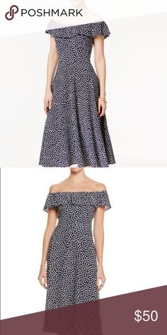 c5f370e9321 Betsey Johnson dress. Navy ivory cold shoulder fit and flare long dress.  Ruffle
