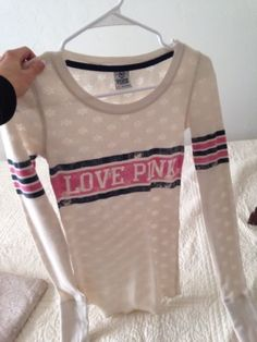Victoria's Secret Xs Sheer Type Thermal Shirt LovE Pink Super Cute And Sporty