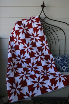 This hunters star quilt in red and white is very striking, I'd like to make one in blue and white.
