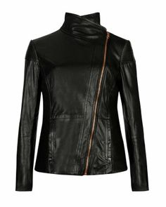 Fold over collar leather jacket