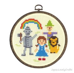 Japanese Cross Stitch Kit Tutorial, Fairy Tale, The Wizard of Oz, Beginner & Intermediates, Hand Embroidery Kit, Embroidery Wall Art, EK022