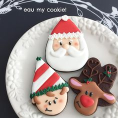 Santa (candy corn cookie cutter), Elf (ice cream cookie cutter), Reindeer (gingerbread man cookie cutter), Christmas cookies
