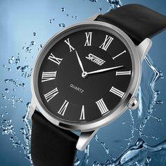 SKMEI 9092 Leater Band Ultra-thin Dial Waterproof Quartz Watch at Banggood