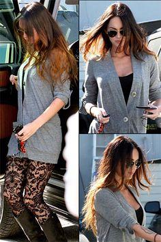 Meagan Fox lace leggings & cardigan Megan Fox Style, Lace Leggings, Stella York, Celebs, Celebrities, Style Me, Celebrity Style, Womens Fashion, Fashion Trends