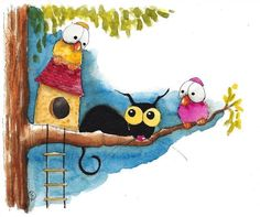 Original watercolor painting whimsical birds Stressie Cat tree house friends in Art, Direct from the Artist, Paintings   eBay