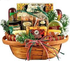 We have filled this very handsome and unique wooden basket with gourmet Focaccia Crisp Crackers, Cranberry Cheddar gourmet Cheese, Wisconsin Swiss Cheese, Home For The Holidays - Christmas Gourmet Meat, Nuts & Cheese Gift Basket