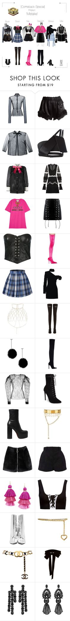 """""""Lunar (루나) [Comeback Special] 'Mistake' Inkigayo"""" by lunar-official ❤ liked on Polyvore featuring Tome, Vivienne Westwood, Simone Rocha, Illustrated People, Thierry Mugler, Gucci, Versace, Balenciaga, Yves Saint Laurent and River Island"""