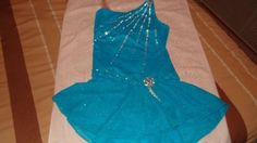 National Competition custom made beautiful blue figure skating dress sz adult m