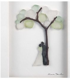 Demdaco wall art with Sharon Nowlan. In Your Arms. Features a couple under a tree. Fabricated Sea glass, pebbles, twigs, and delicate drawing. Sea Glass Crafts, Sea Glass Art, Fused Glass, Seashell Crafts, Beach Crafts, Sea Glass Display, Sea Glass Wedding, Under The Sea Crafts, Sea Drawing