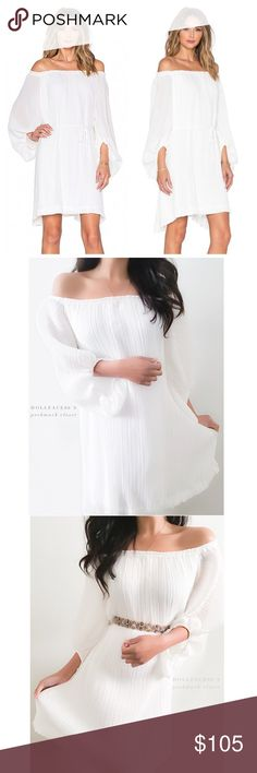 "NWT Shona Joy White Pleated Dress This dress is new with tags. It has a gorgeous pleated white billowy style that fits off the shoulder.   {I am not a professional photographer, actual color of item may vary ➾slightly from pics}  ❥chest:18"" ❥waist:20"" ❥length:33"" ❥sleeves:19"" ➳material/care:polyester + hand wash  ➳fit:like a typical med might work for large  ➳condition:new with tags no rips/stains/missing white tie belt   ✦20% off bundles of 3/more items ✦No Trades  ✦NO HOLDS ✦No…"