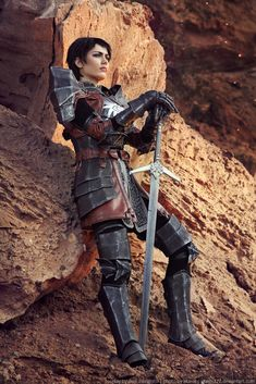 Cosplay Cassandra Pentaghast by HydraEvil female fighter paladin knight soldier sword platemail cosplay costume LARP LRP armor clothes clothing fashion player character npc | Create your own roleplaying game material w/ RPG Bard: www.rpgbard.com | Writing inspiration for Dungeons and Dragons DND D&D Pathfinder PFRPG Warhammer 40k Star Wars Shadowrun Call of Cthulhu Lord of the Rings LoTR + d20 fantasy science fiction scifi horror design | Not Trusty Sword art: click artwork for source