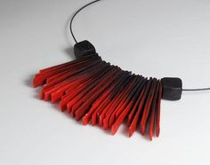 Polymer clay necklace red and black statement unusual