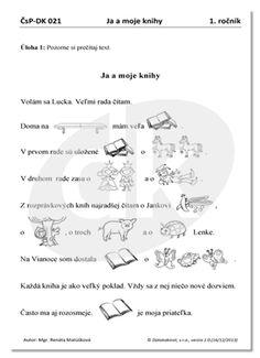 Ja a moje knihy - čítanie s porozumením | datakabinet.sk Miffy, Map, Education, Logo, Logos, Cards, Teaching, Onderwijs, Maps