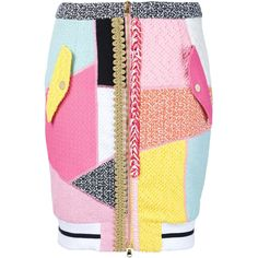 Moschino - moschino *fabric* boucle patch work pencil skirt ($1,629) ❤ liked on Polyvore featuring skirts, colorful pencil skirt, short pencil skirt, high-waisted skirts, colorful skirts and short pink skirt