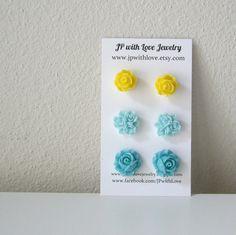 Turquoise Stud earrings flower stud earrings yellow by JPwithLove, $18.00