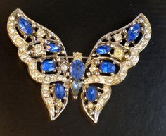 Stunning Blue and Clear Rhinestone Butterfly Brooch