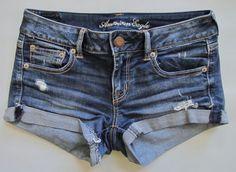 """American Eagle Jean Shorts 4 Shortie 2"""" Super Stretch Distressed Medium Denim #AmericanEagleOutfitters #Denim"""
