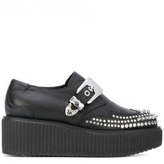 McQ Alexander McQueen Nevada creepers ($610) ❤ liked on Polyvore featuring shoes, black, black studded shoes, genuine leather shoes, urban shoes, leather shoes and black rubber sole shoes