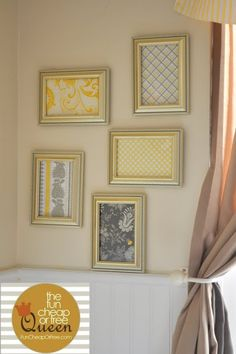 Yellow & Gray Nursery tutorials: Scrapbook paper framed art - Fun Cheap or Free