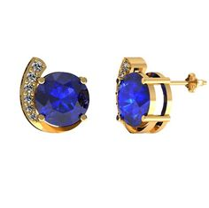 2.4ctw Round Tanzanite Earring With .11ctw Diamonds in 14k Yellow Gold