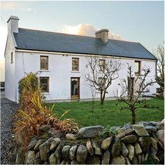 Exterior of an Irish farmhouse Ideal Home Magazine, House And Home Magazine, Cottage Exterior, Dream House Exterior, Butler House, Houses In Ireland, Stucco Homes, Farmhouse Renovation, Irish Cottage