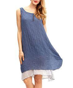 562cf84ef0 Blue Button-Accent Layered Shift Dress  zulilyfinds