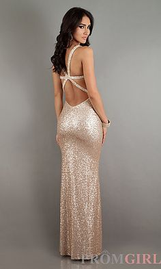 Long Sequin Sweetheart Open Back Gown at PromGirl.com