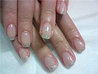 Wedding Manicure - colorless base with glittering green nail polish - Nail art - wedding nails - bridal nails
