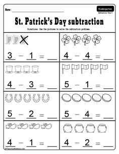 Fun March worksheets for St. Patrick's Day math activities – addition and subtraction worksheets for kindergarten. Great for morning work or small groups. - Education and lifestyle Kindergarten Addition Worksheets, Subtraction Kindergarten, Addition And Subtraction Worksheets, Kindergarten Math Activities, Kindergarten Math Worksheets, Worksheets For Kids, Number Worksheets, Morning Work, Small Groups