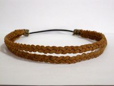Double Braided Headband Halo Leather Headband Bohemian Hairband 2 Strand, comfortable Hippie Headband - rust, black, brown or tan suede