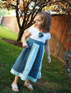 Tee shirt plus ladies' skirt equals cute little girl dress. Perfect for S's too-short tee shirts. Good tutorial.