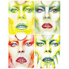 Four #davidbowie watercolor studies I painted. The 5th was left at #285lafayettestreet #davidbowieis #watercolor #art #portrait #katecrosgrove #popart by katecrosgrove