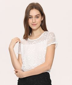 dc4242a6af777e SALE Price: $15.26 White Blouse Lace Chiffon Short Sleeve Summer Women Tops  2016 New Fashion Korean Hollow Out Ladies Shirt Office Female Clothing