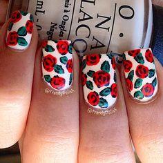 trendypolish: Rose Nail Art