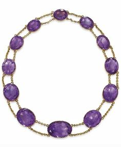 AN ANTIQUE AMETHYST CHOKER. Designed as a line of eleven graduated oval-shaped amethyst collets with similarly-set clasp to the double-row chain connecting links, mounted in gold, circa 1870. #antique #Victorian #choker