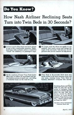 1953 Nash Airliner Reclining Seats.