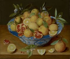 """The photographer's carefully composed images are inspired by — and closely resemble — old master paintings.Jacob van Hulsdonck's """"Still Life with Lemons, Oranges and a Pomegranate,"""" c. 1620-40, which inspired Tavormina's """"Lemons and Pomegranates, After J.V.H."""""""