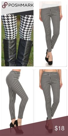 New Chic Houndstooth Leggings Super soft fur like Lined houndstooth print stretch leggings one size fits all . Nwot. . Will fit small through 14 . Great with boots and tunics or sweaters . Price is firm save 10% bundling 2 or more items . Vivacouture Pants Leggings