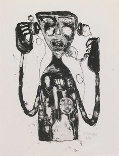 Jean Dubuffet (1901 – 1985)  1944 Telephone Torment lithograph 32.7 x 25.1 cm © 2011 Artists Rights Society (ARS), New York