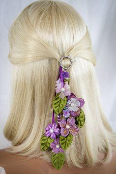 Purple Bridal Hair Clip/Fascinator Wedding by AGoddessDivine, $52.00