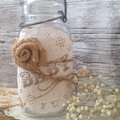 Vintage Baby Shower Decor for 5 Jars, Shabby Chic Baby Shower Centerpiece, Baby Burlap Mason Jar Centerpiece,  Dena Danielle Designs on Etsy, $12.50