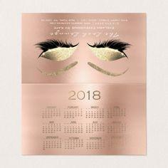 Calendar 2018 Beauty Studio Lashes Pink Rose Business Card - glitter glamour brilliance sparkle design idea diy elegant