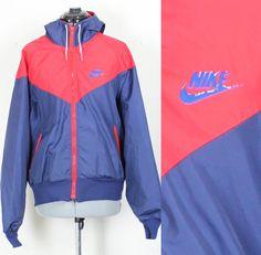 87290e33e3a Vintage Retro Blue and Red Nike Windbreaker Track Jacket Grey Tag AW77