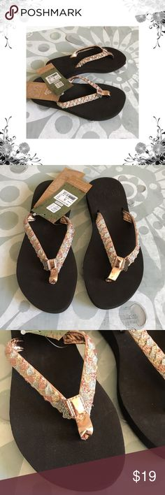 Reef Metallic 'Twisted Star' Cushion Flip Flops Manufacturer color is Rose Gold. Thong toe.  Braided and glitter embellished straps. Slip On. Cushioned footbed. Bundle for discounts! Thank you for shopping my closet! Reef Shoes Sandals