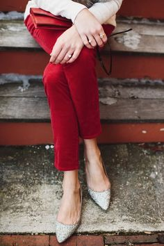 sparkly flats and red pants for the holidays