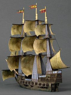 a free Ghost Ship paper model . 3d Paper Crafts, Paper Toys, Deco Pirate, Diy Pour Enfants, 3d Templates, Bateau Pirate, Free Paper Models, Ghost Ship, Paper Ship