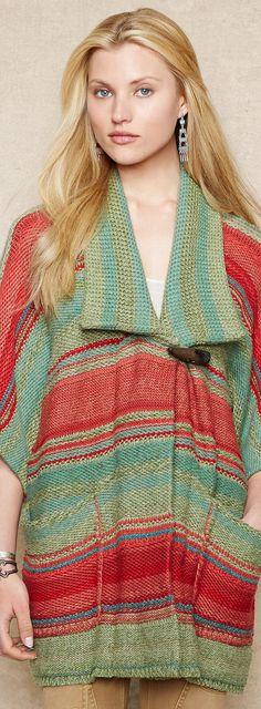 RL Striped Sweater Coat