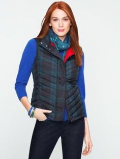 Black Watch plaid puffer
